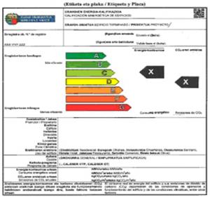 Etiqueta y placa Certificacion energetica