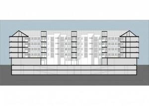 BR&C arquitectos Plano sección edificio viviendas colectivas Galdakao