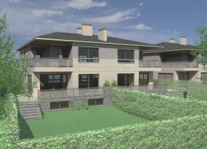 BR&C arquitectos Infografía viviendas bifamilliares Navarra