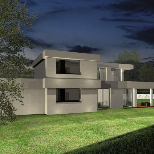 BR&C arquitectos Infografía fachada vivienda unifamiliar Getxo