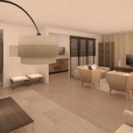 BR&C arquitectos Infografía salón vivienda Pamplona